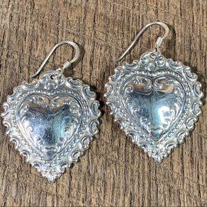 925 Sterling Silver Ornate Heart Dangle Earrings